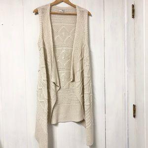 Cream Boho Long Knit Vest